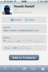 Import personal info from LinkedIn, Twitter and Gravatar ready QR code