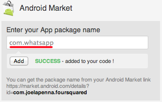 Android Market App QR code package name